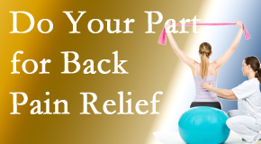 Chiropractic Care calls on back pain sufferers to participate in their own back pain relief recovery.
