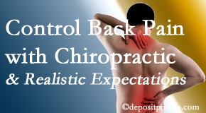 Chiropractic Care helps patients establish realistic goals and find some control of their back pain and neck pain so it doesn't necessarily control them.