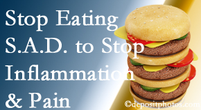 West Palm Beach chiropractic patients do well to avoid the S.A.D. diet to decrease inflammation and pain.