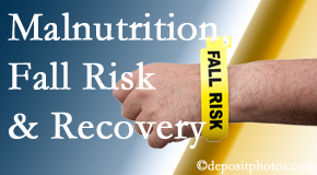 Chiropractic Care assesses patients for fall risks which include nutritional status and malnutrition indicators.