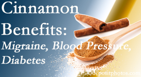 Chiropractic Care presents research on the benefits of cinnamon for migraine, diabetes and blood pressure.