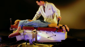 This is a picture of Cox Technic chiropratic spinal manipulation as performed at Chiropractic Care.