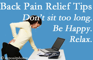 Chiropractic Care reminds you to not sit too long to keep back pain at bay!
