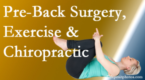 Chiropractic Care offers beneficial pre-back surgery chiropractic care and exercise to physically prepare for and possibly avoid back surgery.