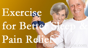 Chiropractic Care incorporates the recommendation to exercise into its treatment plans for chronic back pain sufferers as it improves sleep and pain relief.