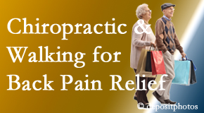 Chiropractic Care encourages walking for back pain relief along with chiropractic treatment to maximize distance walked.