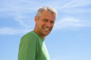 picture of happy man back pain free from exercise