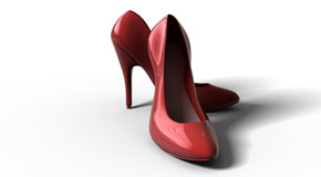 red, glossy high heels image