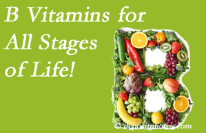Chiropractic Care urges a check of your B vitamin status for overall health throughout life.