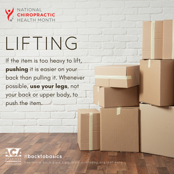 Chiropractic Care advises lifting with your legs.