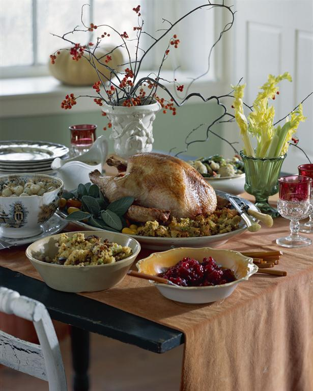 Thanksgiving dinner placed on table